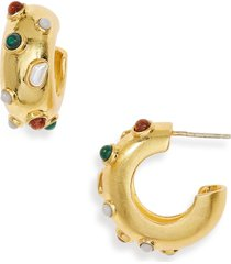 women's madewell stone inlaid chunky small hoop earrings