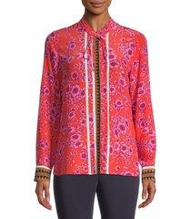 kobi halperin women's lena floral silk blouse - tangerine - size xl