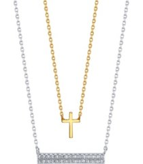 gratitude & grace gold two-tone cross and cubic zirconia bar layer pendant necklaces
