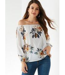 yoins blusa blanca de gasa con hombros descubiertos y estampado floral al azar