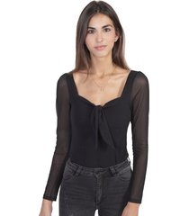 camisa negra anudada en escote manga larga flashy