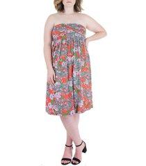 plus size paisley strapless mini dress