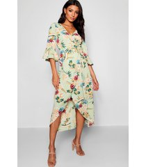 floral woven wrap maxi dress, sage
