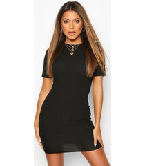 recycled rib crew neck bodycon dress