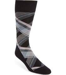 men's cole haan plaid socks, size one size - ivory