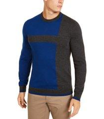 alfani men's merino blend blocked crewneck sweater, created for macy's