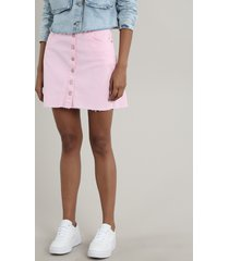 saia de sarja feminina curta com botões rosa claro