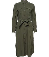 flo dress ls we knälång klänning grön tommy hilfiger
