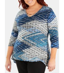 ny collection plus size printed hardware-embellished top