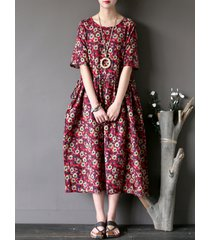 donna vintage casual vestito floreale a maniche corte