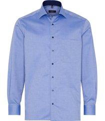 eterna heren overhemd contrast natté oxford borstzak kent comfort fit blauw