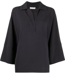 lemaire collared tunic cotton top - grey