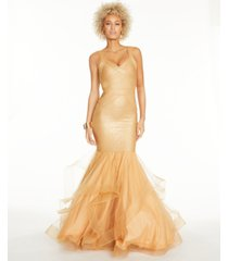 glamour by terani juniors' bandage mermaid gown