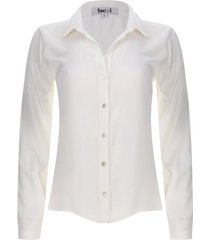 camisa unicolor con botones color blanco, talla 16