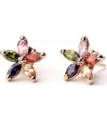orecchini in oro rosa di lusso orecchini a forma di fiore in zircone colorati gioielli classici per donna