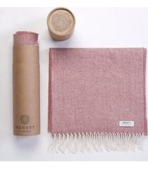 men's herringbone lambswool scarf pink one size