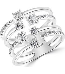 14k white gold & diamond cage ring