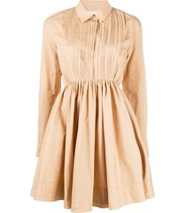 jil sander pleat detail flared shirt dress - neutrals