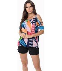 blusa zipituka com alça 107 estampa geometrica - estampado - gg - feminino