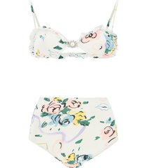 floral ribbon print bikini