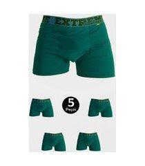kit 5 cueca imi lingerie boxer em microfibra lisa estilo verde