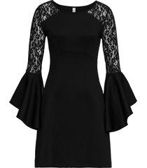 abito con volant e pizzo (nero) - bodyflirt boutique