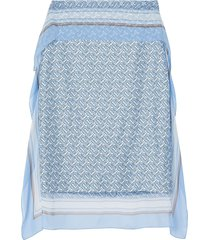 burberry scarf detail monogram print silk pencil skirt - blue