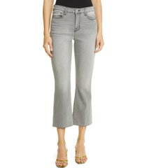 l'agence kendra raw hem crop kick flare jeans, size 30 in misty grey at nordstrom