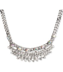 """inc silver-tone crystal & stone chain-link statement necklace, 17"""" + 3"""" extender, created for macy's"""