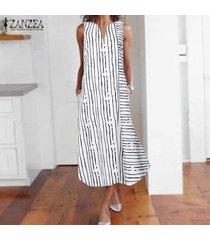 zanzea más el tamaño de las mujeres sin mangas del hombro del tanque del vestido de la raya larga floja camisa -blanco