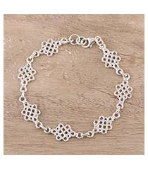 sterling silver link bracelet, 'infinity loops' (india)