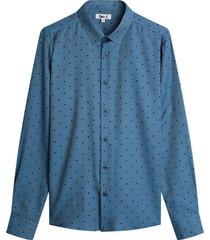 camisa m/l estampado mini rombos color azul, talla l