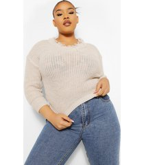 plus contrasterende geruite oversized boyfriend blouse, ivory