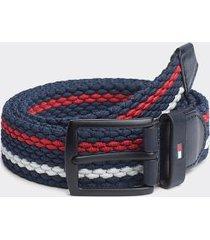 tommy hilfiger men's stripe stretch belt navy/red/white - 40