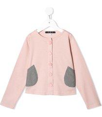 owa yurika pocket detail cardigan - pink
