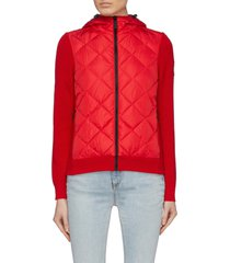 'hybridge' down puffer panel merino wool zip cardigan