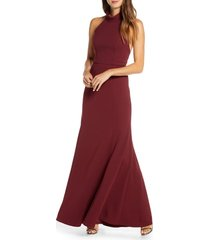 women's jenny yoo petra halter crepe a-line gown, size 16 - pink