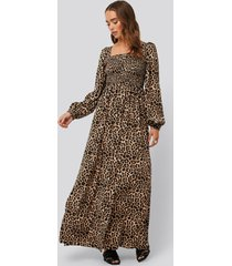 na-kd boho square neck leo maxi dress - brown,beige,multicolor