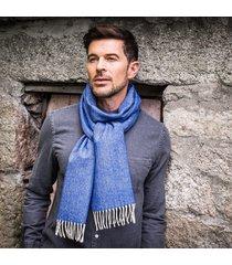 men's herringbone lambswool scarf blue one size