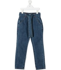 billieblush belted straight-leg jeans - blue