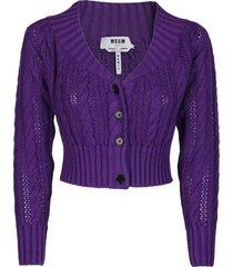 purple cotton cardigan