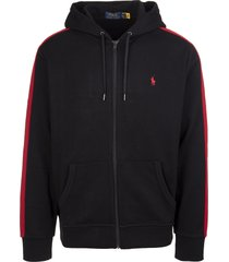 ralph lauren man black hoodie with red stripes and back print