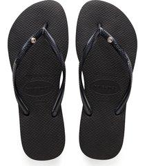 women's havaianas 'slim crystal glamour' flip flop, size 35/36 br - black