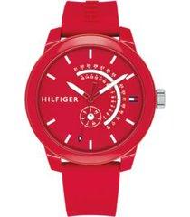 tommy hilfiger men's red sport watch red -