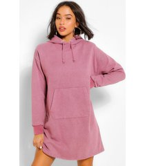acid wash gebleekte sweatshirt jurk met schouderpads, rose