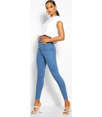skinny jeans met hoge taille, middenblauw