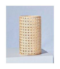 luminária vidro e bambu cor: natural - tamanho: único