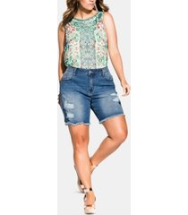 city chic trendy plus size ripped denim shorts