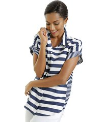 shirt alba moda blauw::wit