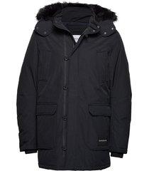 fur trimmed hooded d parka jas zwart calvin klein jeans